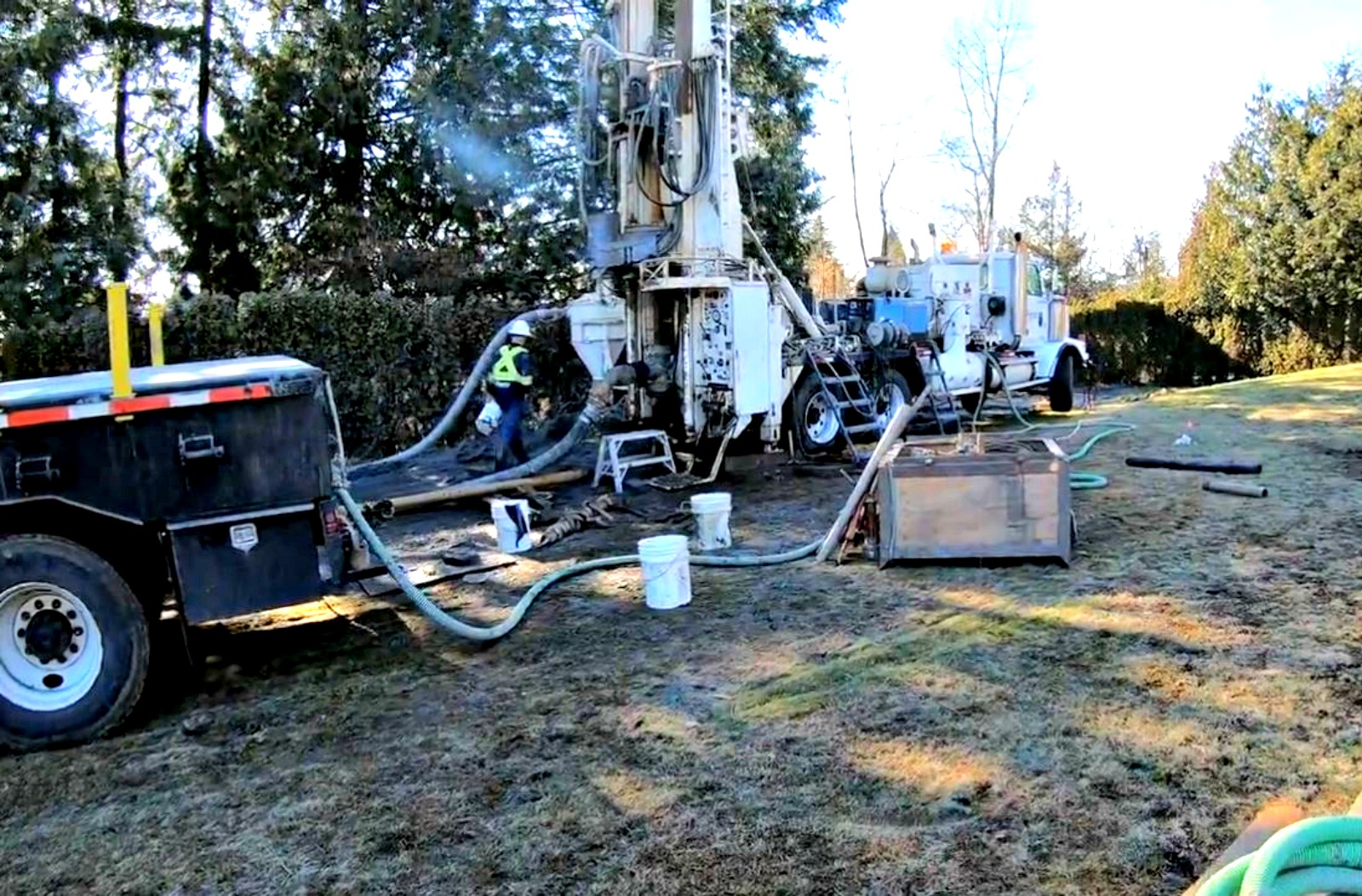 Drilling in New Wesminster with Dual Rotary Drilling DR at Schara Tzedeck Cemetery - 2345 Marine Drive New Westminster, Greater Vancouver Regional District, British Columbia, Canada